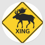Moose Crossing Highway Sign Classic Round Sticker