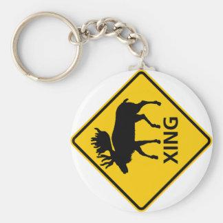 Moose Crossing Highway Sign Keychain
