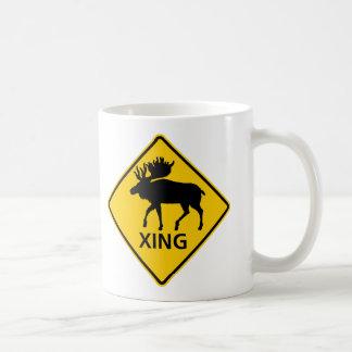 Moose Crossing Highway Sign Classic White Coffee Mug