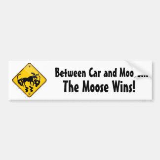 Moose Crossing Sign Bumper Sticker