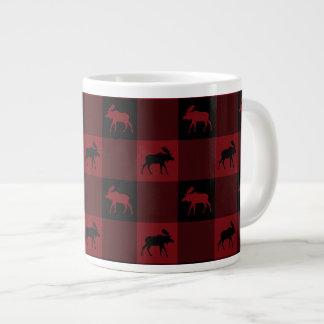 Moose Dark Red Black Plaid Large Coffee Mug