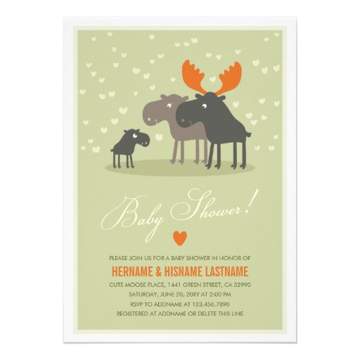 Moose Deer Family Couples Baby Shower Invitation