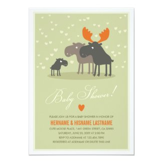 "Moose Deer Family Couples Baby Shower Invitation 5"" X 7"" Invitation Card"