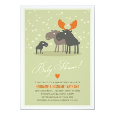 Valentines Themed Moose Deer Family Couples Baby Shower Invitation