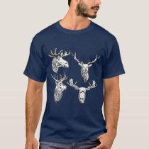 Moose & Deer Vintage Style Hunt Theme Design T-Shirt