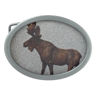 Moose Design by Leslie Harlow Oval Belt Buckle