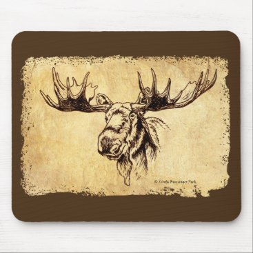 Linda_MN Moose Drawing Faux Leather Mouse Pad
