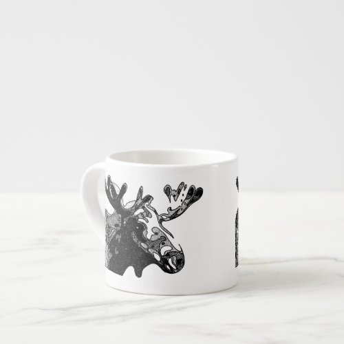 Moose Drawing in Black and White Espresso Cup