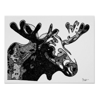 Moose Drawing in Black and White Poster