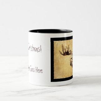 Moose Drawing Sepia Ink Two-Tone Coffee Mug