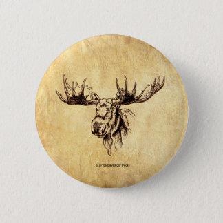 Moose Drawing Sepia Pinback Button