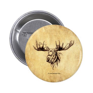 Linda_MN Moose Drawing Sepia Pinback Button