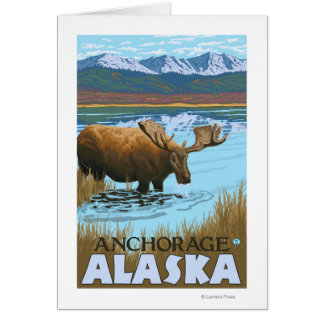 Moose Drinking at Lake - Anchorage, Alaska Card