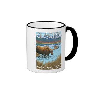 Moose Drinking at Lake - Glacier National Park, Coffee Mugs