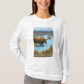 Moose Drinking at Lake - Glacier National Park, T-Shirt