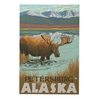 Moose Drinking at Lake - Petersburg, Alaska Wood Wall Art