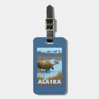Moose Drinking Water Vintage Travel Poster Bag Tag