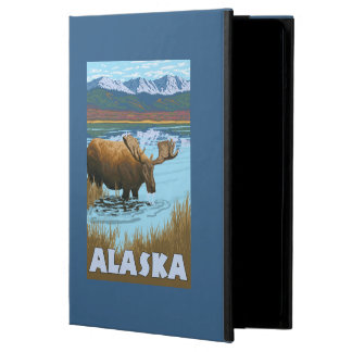 Moose Drinking Water Vintage Travel Poster iPad Air Covers