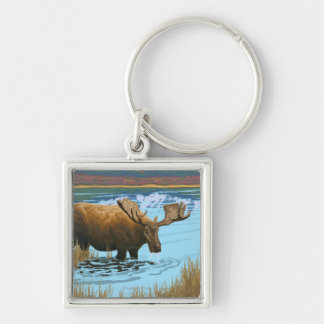 Moose Drinking Water Vintage Travel Poster Silver-Colored Square Keychain