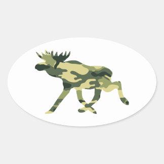 Moose / Elk Woodland Camouflage / Camo Oval Sticker