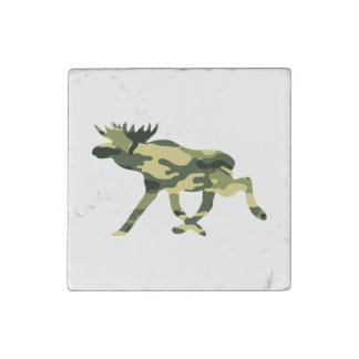 Moose / Elk Woodland Camouflage / Camo Stone Magnet