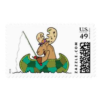 Moose Fishing Postage Stamps