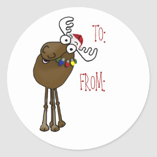 Moose gift label TO:, FROM: Sticker