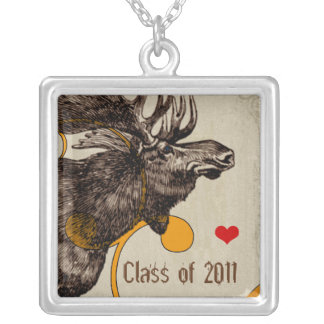 Moose Graduations for Wildlife Biology Majors Silver Plated Necklace