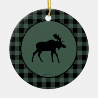 Moose Green Black Plaid Border Double-Sided Ceramic Round Christmas Ornament