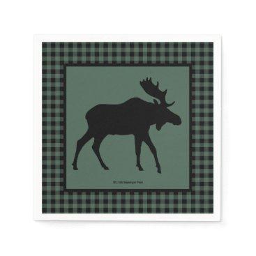 linda_mn Moose Green Black Plaid Paper Napkin