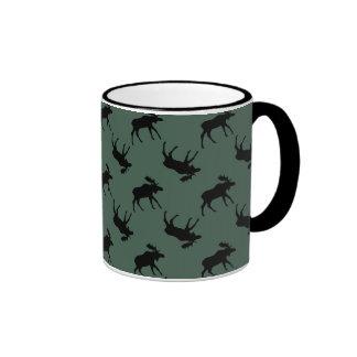 Moose Green Black Ringer Mug