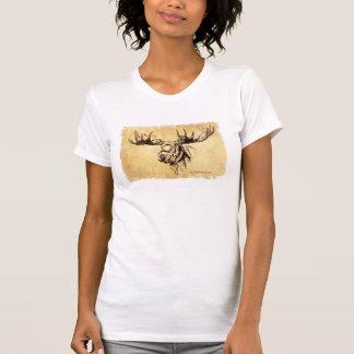 Moose Head Drawing Sepia T-shirt