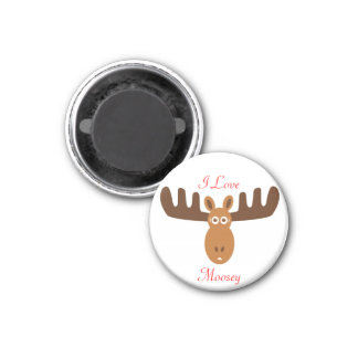 Moose Head_I Love Moosey 1 Inch Round Magnet
