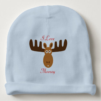 Moose Head_I Love Moosey_whimsical & humorous Baby Beanie