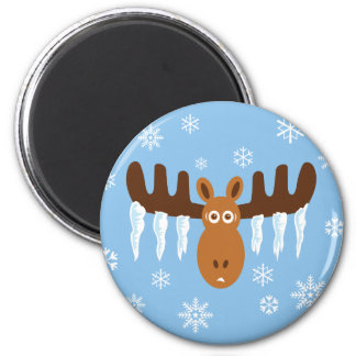 Moose Head_Icicle Antlers 2 Inch Round Magnet