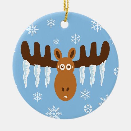Moose Head_Icicle Antlers Ceramic Ornament