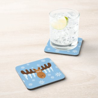 Moose Head_Icicle Antlers corkcoaster