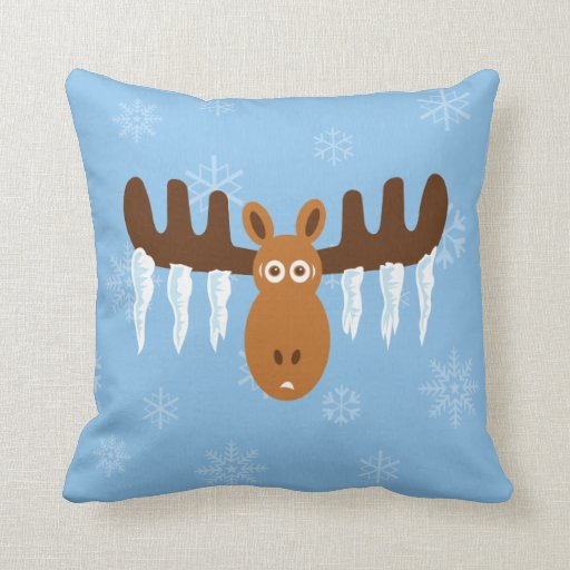 Moose Head_Icicle Antlers Throw Pillow Zazzle
