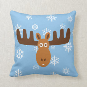 Moose Head_Icicle Antlers Throw Pillows