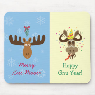 Moose Head_Merry Kiss Moose_Happy Gnu Year! Mouse Pad