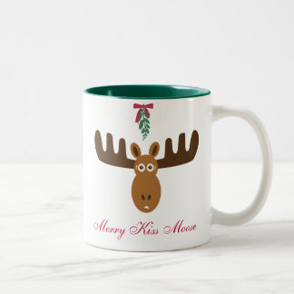 Moose Head_Merry Kiss Moose_Happy Gnu Year! Two-Tone Coffee Mug