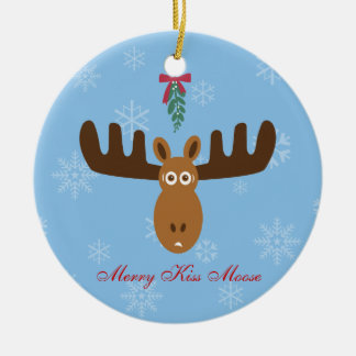 Moose Head_Merry Kissmoose_Happy Gnu Year! Ceramic Ornament