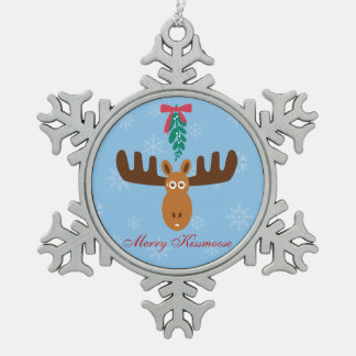 Moose Head_Merry Kissmoose_Humorous Holidays Snowflake Pewter Christmas Ornament