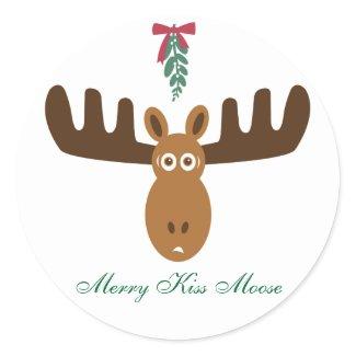 Moose Head_Mooseltoe_Merry Kiss Moose sticker