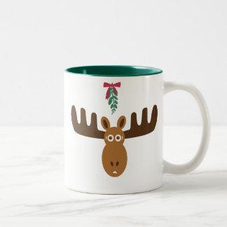 Moose Head_Mooseltoe_Merry Kiss Moose Two-Tone Coffee Mug