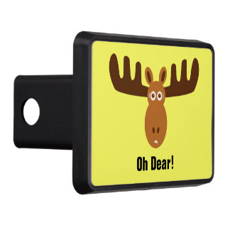Moose Head_Oh Dear!_in headlights Tow Hitch Cover