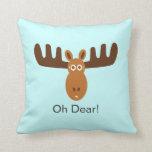 Moose Head_Oh Dear! Throw Pillows