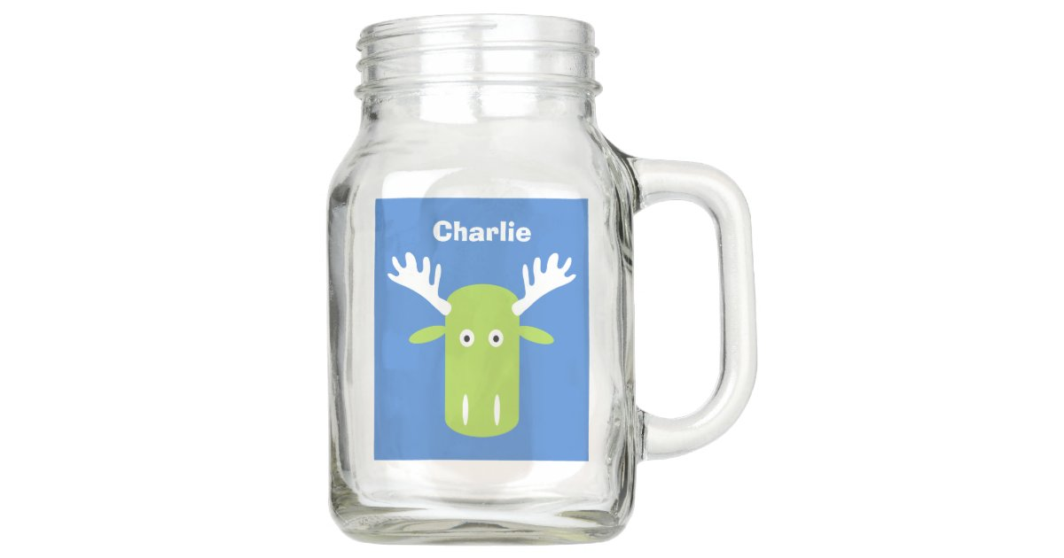 Moose Head Pop Art custom name Mason jars | Zazzle com