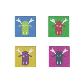 Moose Head Pop Art stone magnet set 1