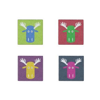Moose Head Pop Art stone magnet set 2